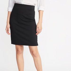 Black ponte knit pencil skirt